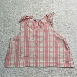 Madewell Pink/White Plaid Tank with Tie detail